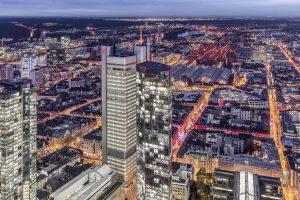 Lustaufnahme Bahnhofsviertel Frankfurt von oben