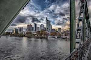 "Skyline Frankfurt at the bridge ""Eisernen Steg"""